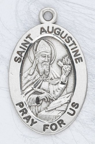 Sterling Silver Oval Medal Necklace Patron Saint St. Augustine with 20