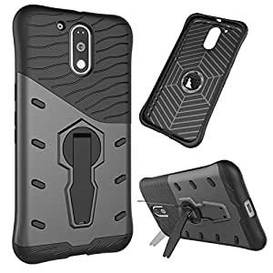 TarkanTM Moto G4 Play Back Case Cover: 360 Kickstand Original Sniper For Moto G Play 4th Gen. [Grey]