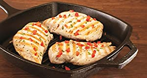 Lodge L8SGP3ASHH41B Cast Iron Square Grill Pan with Red Silicone Hot Handle Holder, Pre-Seasoned, 10.5-inch