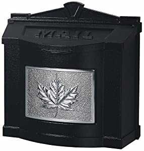 Gaines Wm WallMount Mailbox, Leaf Design Wm9C, Black/Satin Nickel