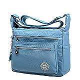 2016 New Fashion Leisure Womens Girls Waterproof Nylon Messenger Bags ShoulderBags (Light Blue)