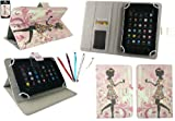 Emartbuy® Bundle of 5 Dual Function Stylus + Universal Range Flower Girl Multi Angle Executive Folio Wallet Case Cover With Card Slots Suitable for Medion LifeTab E7310 7 Inch Tablet ( As Sold in Asda )