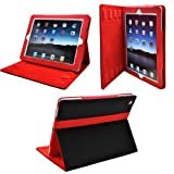 Ionic 2-Tone Designer Leather Case Cover with stand and Sleep/Wakeup support for Apple iPad 2, iPad 3, iPad 4, iPad 2nd, iPad 3rd, iPad 4th Generation AT&T Verizon 4G LTE (Black/Red). Automatically Wakes and Puts iPad 3 to sleep. Ships with Screen Protector.