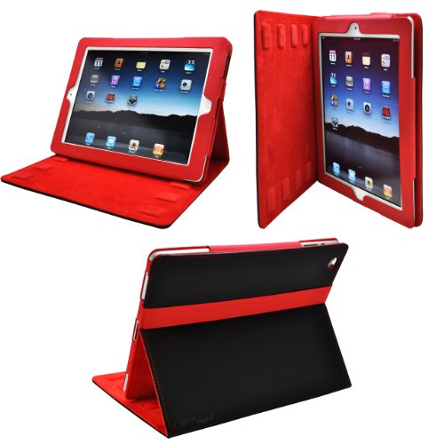 CrazyOnDigital 2-Tone Designer Leather Case Cover with stand and Sleep/Wakeup support for iPad/iPad 2/The New iPad/ HD AT&T Verizon 4G LTE - Black/Red
