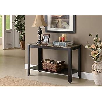 Monarch Specialties Marble Look Top Sofa Console Table, 44-Inch, Cappuccino