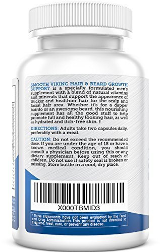 Hair-and-Beard-Growth-Support-Mens-Facial-Hair-Supplement-5000-MCG-of-Biotin-Vitamins-A-C-DHT-Blocker-Hair-Loss-Treatment-Use-With-Smooth-Viking-Beard-Oil-Balm-Conditioner-60-Capsules