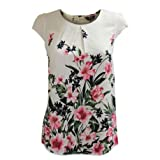 Ex Dorothy Perkins Pink Floral Cream Blouse with Cap Sleeves Back Buttoning Size 16