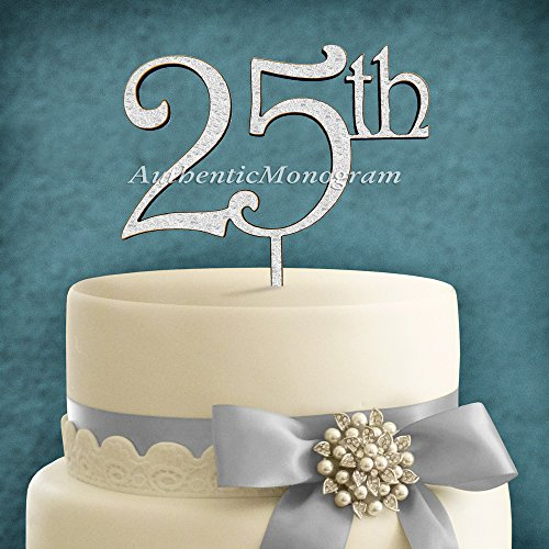 "6"" Wooden Painted ""25Th"" Anniversary Cake Topper, Initial Monogram, Celebration, Family Reunion, Special Occasion, Love Gift"