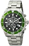Invicta Pro Diver Chronograph Black Carbon Fiber Dial Stainless Steel Watch Men's Quartz Watch with Black Dial Chronograph Display and Silver Stainless Steel Bracelet 12569
