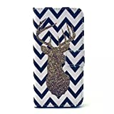 iPhone 6 Case, JCmax Premium Flip Wallet Case with Stand Function for Apple iPhone 6( 4.7 inch )-[ Deer Pattern ]- Blue