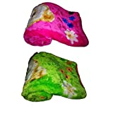 Light Gear Luxury Super Soft Cozy And Warm Baby Mink Blanket Set Of 2 ( Pink + Green)