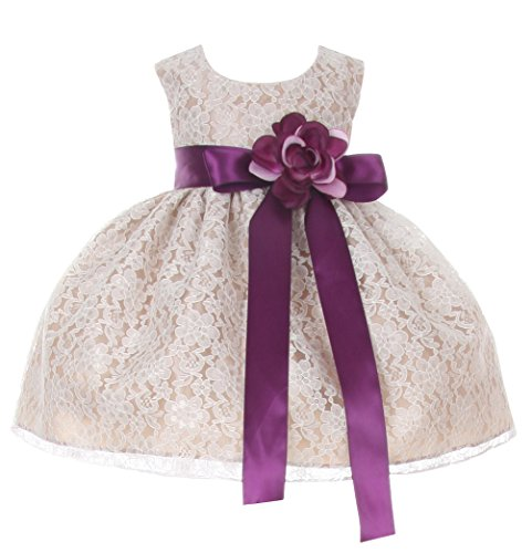 Cinderella Couture Baby Girls' Champagne Lace Flower Girl Dress & Flower Sash