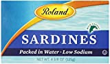 Roland Plain Sardines in Water, Low Sodium, No Oil Added, 4.375 Ounce Cans (Pack of 20)