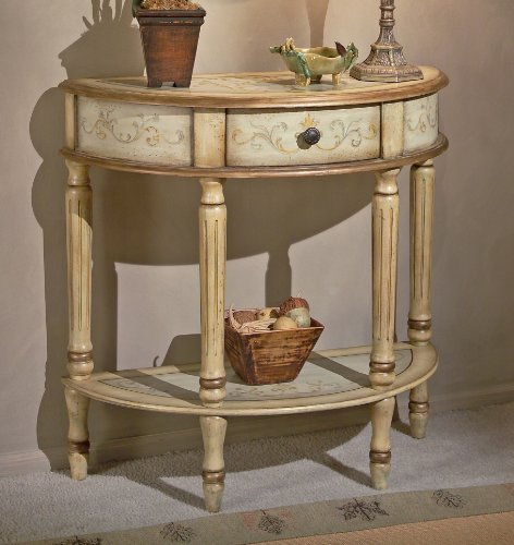 Cheap Tuscan Cream Hand Painted Demilune Console Table (B004Z93HT8)
