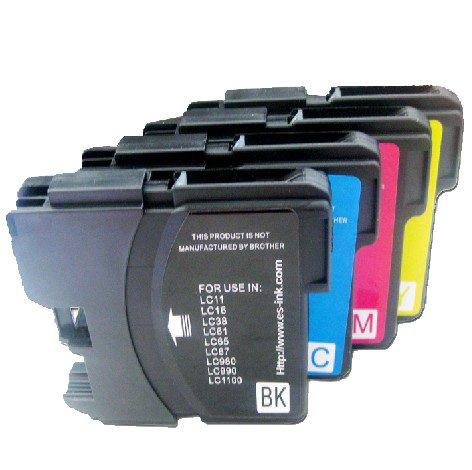 4 Patronen LC 980BK LC 980C LC980M LC980Y LC1100 für Kompatibel Brother DCP-145C DCP-163C DCP-165C DCP-185C DCP-195C DCP-197C DCP-365CN DCP-375CW DCP-377CW DCP-385C DCP-395CN DCP-585CW DCP-6690CW MFC-250C MFC-255CW MFC-290C MFC-295CN MFC-490CW MFC-790CW MFC-795CW MFC-990CW MFC-5490CN MFC-5890CN MFC-5895CW MFC-6490CW MFC-6890CDW MFC-J615W Drucker