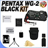 Pentax Optio WG-2 Adventure Series 16 MP Waterproof Digital Camera with 5 X Optical Zoom (Black) W/4GB SDHC Memory Card + Extra LI50B Extended Life Battery + Deluxe Case w/Strap + USB Card Reader + Memory Card Reader + Accessory Saver Bundle!