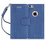 iPhone6s Plus ケース iPhone6Plus ケース,Fyy 100%手作り 高級PUレザーケース 横開き 手帳型ケース カードポケット スタンド機能 マグネット式 ストラップ付き スマホケース スマホカバー ネイビー