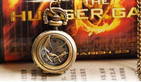 Vintage Inspired Hunger Games Pendant Pocket Watch Necklace with 30