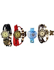 ANALOG KIDS WATCH WITH HELLO KITTY CARTOON PRINTED ON DIAL AND STRAP WITH 3 WOMEN BRACELET WATCH-SET OF 4 - B01BGH177K