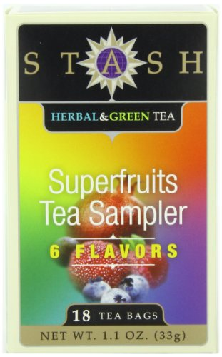 Stash Tea Superfruits Sampler, Six Flavor Variety Pack, 18 Count Tea Bags In Foil (Pack Of 6)