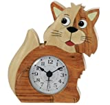 Cat Clock : Handcrafted Wooden Gift Idea : On/off alarm switch on reverse : Top Hand Painted Gifts for Boys, Girls, Kids, Children & Fun Loving Adults! : 1 Train, 1 Bird & 7 Animal Designs Available : Height approx 12cm