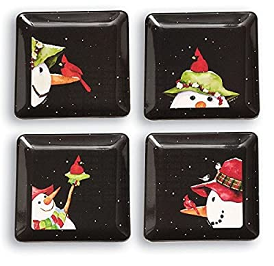 Snowbirds Eco Bamboo Square Appetizer Plates - Set of 4