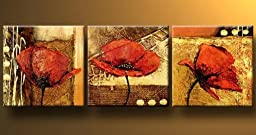 Wieco Art - Poppy in the Gold Modern 100% Hand Painted 3 Panels Abstract Flowers Artwork Floral Oil Paintings on Canvas Wall Art Décor for Living Room Bedroom