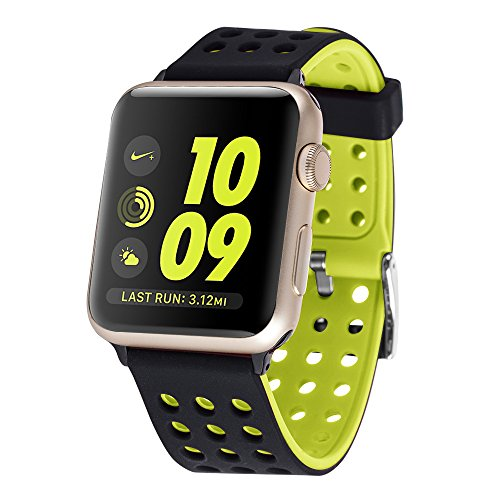 Huishang Apple Watch Sport Straps, Replacement Soft Silicone Wristband Sports Accessories Band Bracelet for Apple Watch Series 1 / 2 Wrist Strap bands (42mm, Black/Yellow)