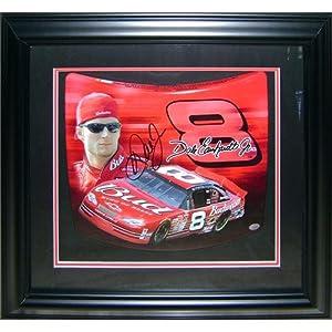 Dale Earnhardt Jr. Autographed (Budweiser) Mini Hood Shadowbox Frame by PalmBeachAutographs.com