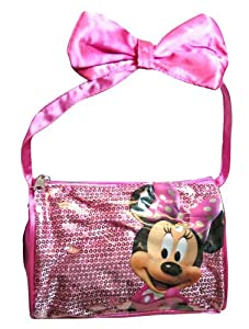Disney Minnie Satin Handbag with Ribbon Bow on Handle