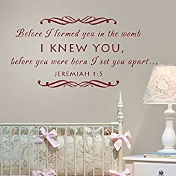 MairGwall Baby Nursery Wall Decal - Before I Formed You in the Womb Christian Scripture Wall Decal (Dark Brown, Medium)