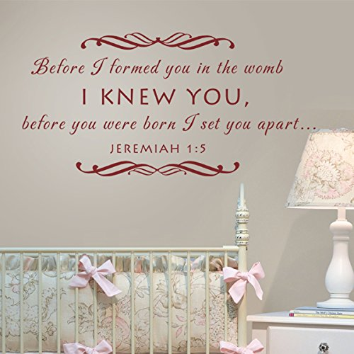 Baby Nursery Wall Decal - Before I Formed You In The Womb Christian Scripture Wall Decal (Brown, Medium)