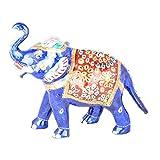 Rajgharana Handicrafts Multi Color Metal Meenakari Delightful Elephant - (14 Cm X 20 Cm)
