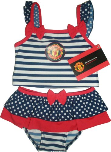 Manchester United Football Club Baby Girls Stripe Tankini (Blue/White and Red,6 to 9 months)
