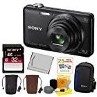 SONY Cyber-shot DSC-WX80/B Compact Zoom Digital Camera in Black + 32GB Secure Digital Memory Card + Sony Digital Camera Case + Sony Drawstring Style Case + 25 Free Quality Photo Prints + Lithium Ion Rechargeable Battery + Enhanced Lens Cleaning Kit