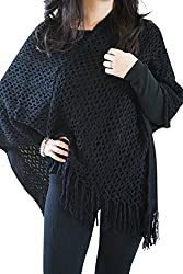 Chic Fringed Pullover Poncho Cardigan - Free Size Black