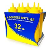 New Star 26610 Wide Mouth Plastic Squeeze Bottles, 32-Ounce, Yellow, Set Of 6
