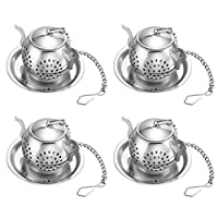 Accmor Tea Infuser - Stainless Steel Loose Leaf Tea Strainer with Chain and Drip Trays - Tea Filters for Rooibos, Green tea and Oolong Tea-4 PCS Teapot Infuser Gift Set for Cup, Mug and Pitcher