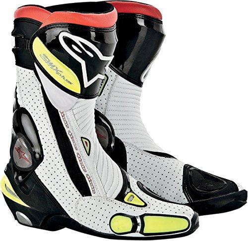 Alpinestars S-MX Plus Vented Men's Leather Street Motorcycle Boots - Black/White/Flourescent Yellow / Size 45