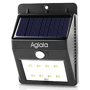 Aglaia Lámpara Solar LED con sensor de movimiento, energía solar iluminación de seguridad al aire libre con 8 LEDs brillantes, el modo automático de la callejuela del jardín, 30s de tiempo de retardo y más de 12 horas de tiempo de ejecución, LT-O1 Negro