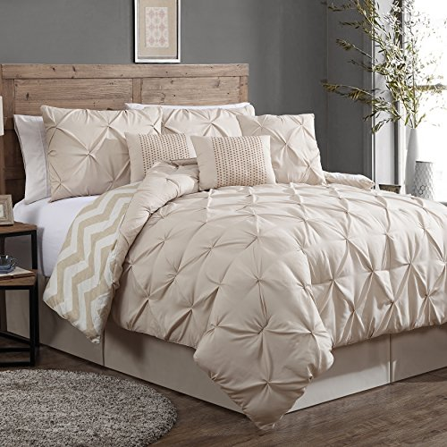 Find Cheap Geneva Home Fashion 7-Piece Ella Pinch Pleat Comforter Set, Queen, Taupe