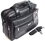 Brown Quality Faux Leather Executive Business Bag Briefcase Laptop Work Case (Black)