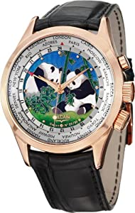 Vulcain Cloisonne The Pandas GMT Mechanical Silver Dial Mens Watch 100508.189L