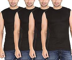 Zippy Men's Sporty Sleeveless Black Vest (Pack of 4)