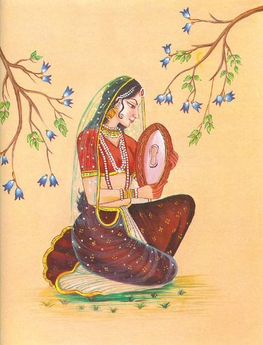 "Dolls Of India ""Lady Playing Dafli"" Reprint On Paper - Unframed (29.21 X 24.13 Centimeters)"