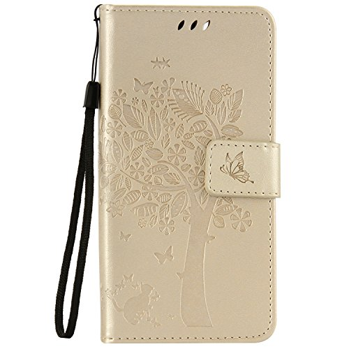 Wiko Lenny 3 Custodia,Wiko Lenny 3 Cover Portafoglio - Cozy Hut Elegante Pittura Gatto e Albero Design Folio PU pelle Leather Wallet Supporto Stand e Porta Carte Integrati Portafoglio Flip Custodia Case Cover Stile Libro con Magnetic per Wiko Lenny 3 - d'oro