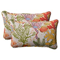 Pillow Perfect Indoor/Outdoor Splish Splash Corded Rectangular Throw Pillow, Multi, Set of 2 from Pillow Perfect