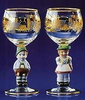 German Wine Glass Set w/ Goebel Stems Bavarian Children Figures by PINNACLE PEAK