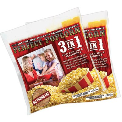 Funtime Ft2524 2.5-Ounce Popcorn 3 In 1 Kernel Oil Seasoning Kits - 24 Pack
