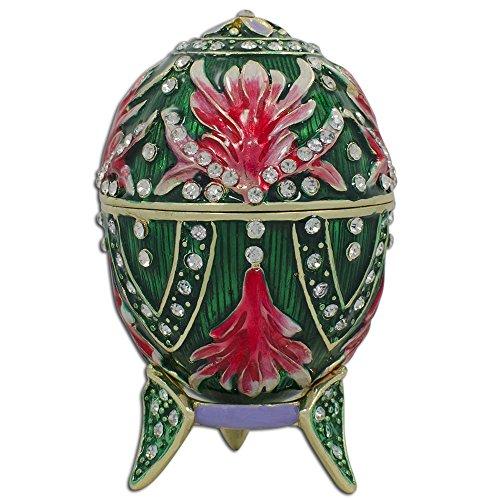 8,9cm Amaryllis Fleur émaillé Jeweled Faberge inspiré Russe œufs de Pâques Boîte à bijoux figurine